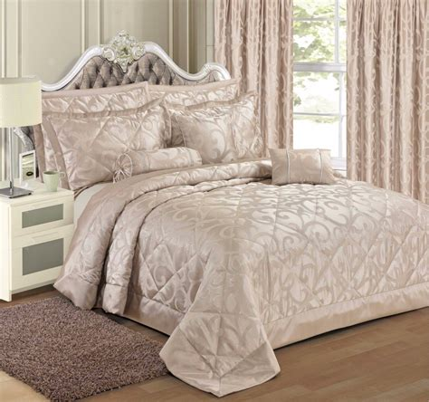 Floral Bedspreads by Chagne Colour Stylish Floral Scroll Jacquard Luxury