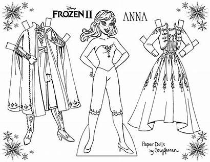 Frozen Coloring Dolls Paper Anna Elsa Printable