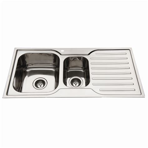 kitchen sink bunnings squareline 1080 kitchen sink with 1 3 4 bowl and drainer 2597