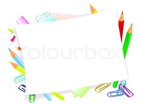 school supplies with frame for tour text stock vector colourbox