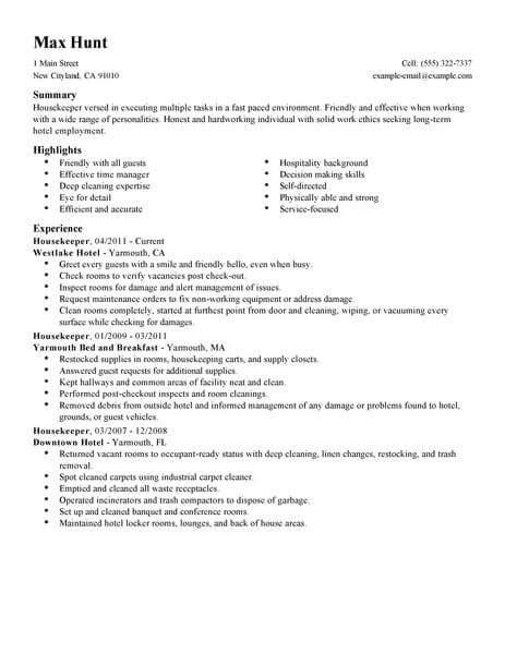 Housekeeper Resume by Best Housekeeper Resume Exle Livecareer