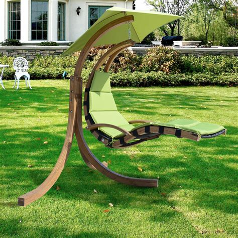 Outdoor Hammock Swing Chair by Outdoor Wooden Hanging Chaise Lounger Arc Stand Hammock
