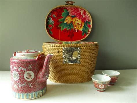 vintage chinese tea warmer set tea pot  cups