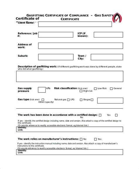 gas safety certificate templates  printable word