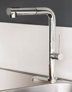Chrome Modern Kitchen Faucet With Pull Out Dual Shower