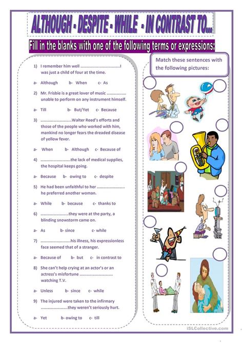 Althoughdespitewhilein Contrast To Worksheet  Free Esl Printable Worksheets Made By Teachers