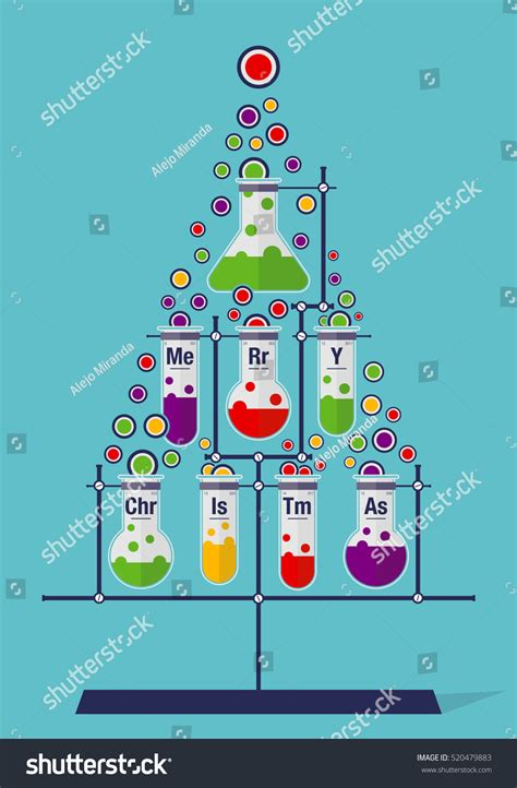 christmas tree made test tubes bubbles stock vector