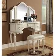 Vanity Set by Trini 3 PC Vanity Set Tri Fold Mirror Table Stool Bench White Finish EBay