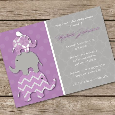 Purple Baby Shower Invitations by Stacked Elephant Baby Shower Invitation Purple Diy