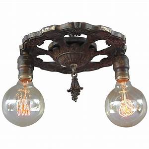 Antique s two light ceiling mount fixture at stdibs