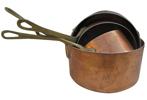 vintage french copper sauce pans set   omero home