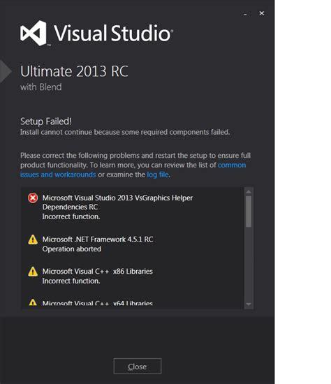 Resume Visual Studio Installation by Installer Microsoft Visual Studio 2013 Installation