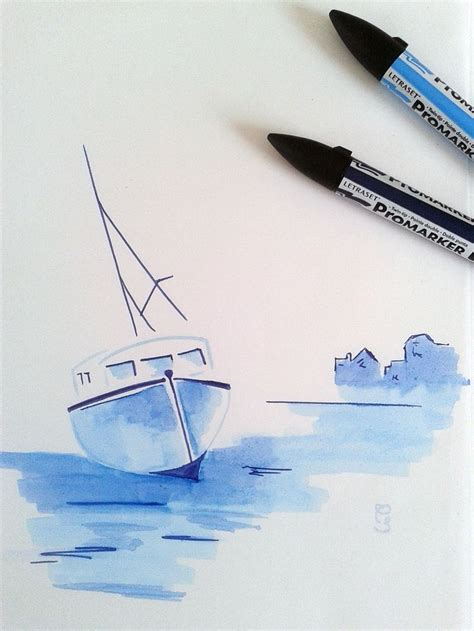 Village Boat Drawing by Drawing Boat Promarker Rejoignez Ma Page Https Www
