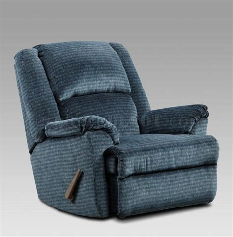 navy blue fabric modern chaise rocker recliner