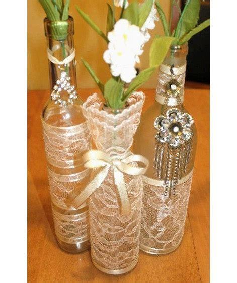 decorative wine bottles for wedding set 3 decorated wine bottle centerpiece vintage ivory