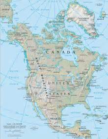 North America and Canada Physical Map