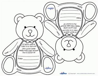 Coloring Shower Printable Invitations Teddy Bear Printables