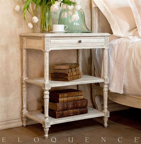 eloquence napoleon nightstand  antique white kathy kuo
