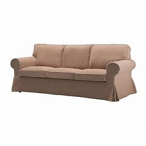Ikea ektorp 3 seat sofa slipcover cover idemo beige w piping for Beige slipcover sofa