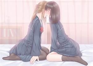 Black, Hair, Brunette, School, Uniform, Pantyhose, Stockings, Skirt, Short, Hair, Ponytail, Kissing