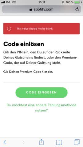 spotify geschenkkarte kann ich nicht einloesen computer
