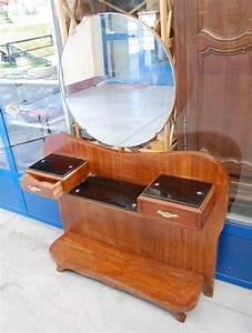 Modernariato  Consolle Anni  U0026 39 60 In Mogano Con Specchio Basculante Fronte 106 Cm