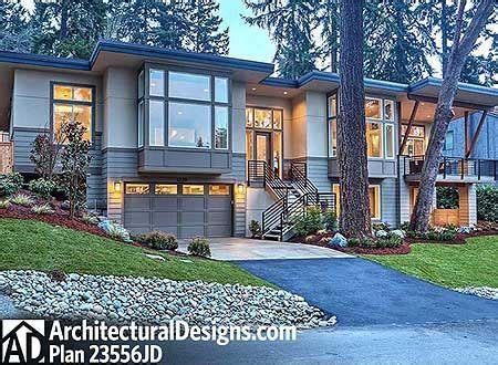 plan jd modern beauty  front sloping lot contemporary house plans craftsman style