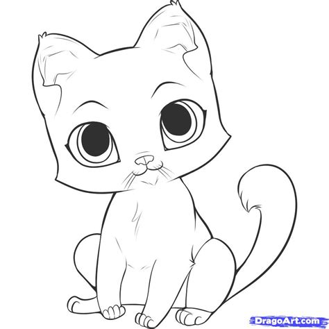 How To Draw An Easy Kitten, Step By Step, Pets, Animals
