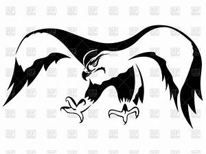 Hawk with wide wings in attack - outline Vector Clipart ...