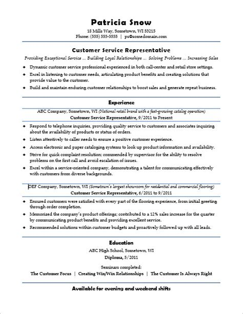 Entry Level Customer Service Resume by Customer Service Representative Resume Sle