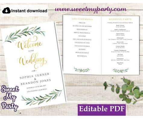 greenery wedding program booklet templategreenery wedding