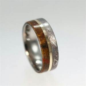 meteorite dinosaur fossil and gold mens wedding ring With meteor rock wedding rings