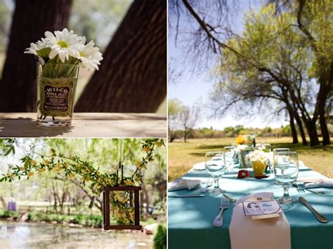 Retro-themed Outdoor Wedding Reception Tablescape And