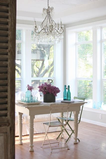 Shabby Chic Dining Room Lighting by Dreamy Whites