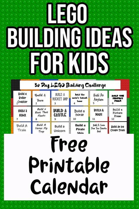 day lego building challenge calendar printable