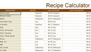 Food Costing Sheet Template Recipe Cost Calculator Spreadsheet Petrydesigns
