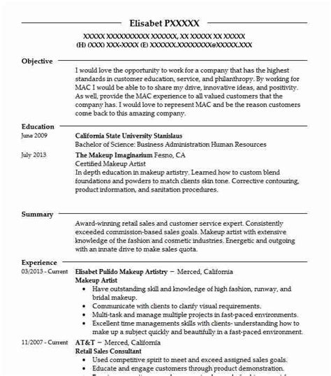 How To Make Resume Sle For by Makeup Artist Resume Objectives Resume Sle Livecareer