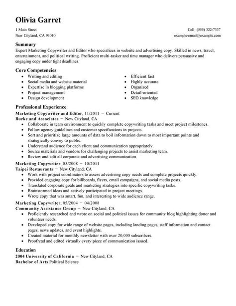Resume Editor copywriter and editor sles no experience resumes