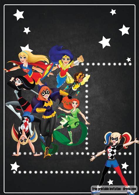 printable dc superhero girls invitation template