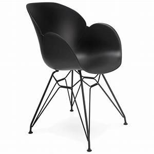 Chaise Pied Metal Noir : chaise design style industriel tom en polypropyl ne pied m tal noir noir ~ Teatrodelosmanantiales.com Idées de Décoration