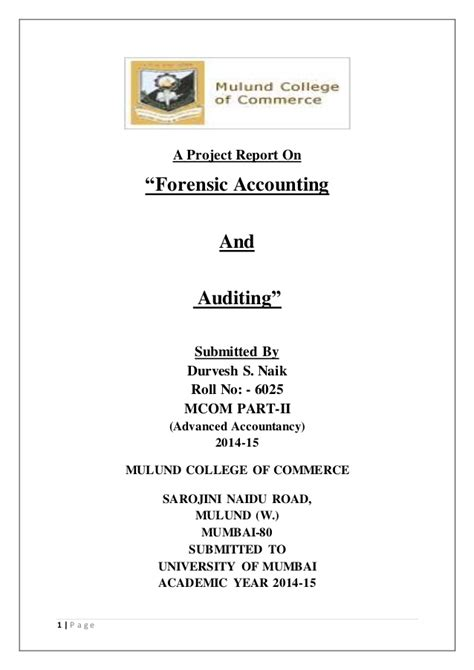 project report  forensic accounting  auditing