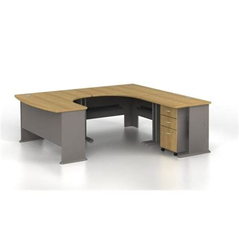 light oak computer desk bush business series a u shaped right computer desk in