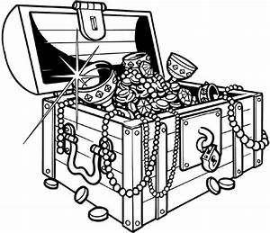 Treasure chest full of jewels vinyl sticker. Customize on ...