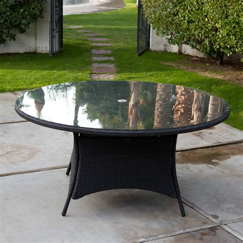 outdoor dining table with umbrella hole belham living meridian 63 in flat wicker round patio