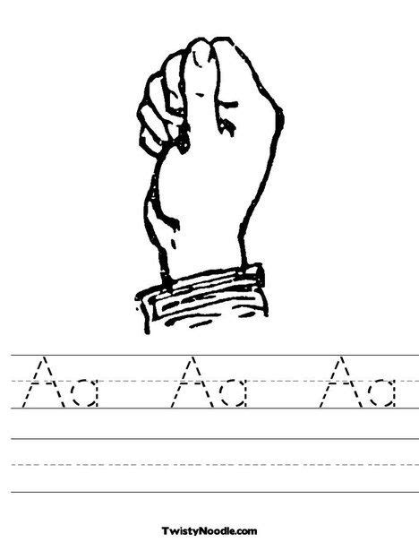 sign language letter a worksheet from twistynoodle 786 | eff002e71d853868b788dae6a58b00ff