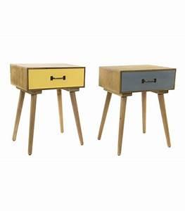 Table De Chevet Jaune : set de 2 tables de chevet bois jaune et gris ~ Melissatoandfro.com Idées de Décoration
