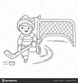 Coloring Outline Hockey Sports Winter Cartoon Boy Playing Illustration Vector Depositphotos sketch template