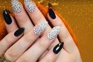 Tutorial brilliant swarovski crystal nails design