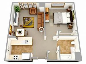 3d one bedroom small house floor plans for single man or With 1bed room 3d home plan