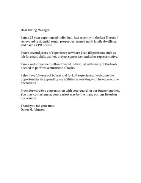 dear hiring manager cover letter sle 28 images stylish
